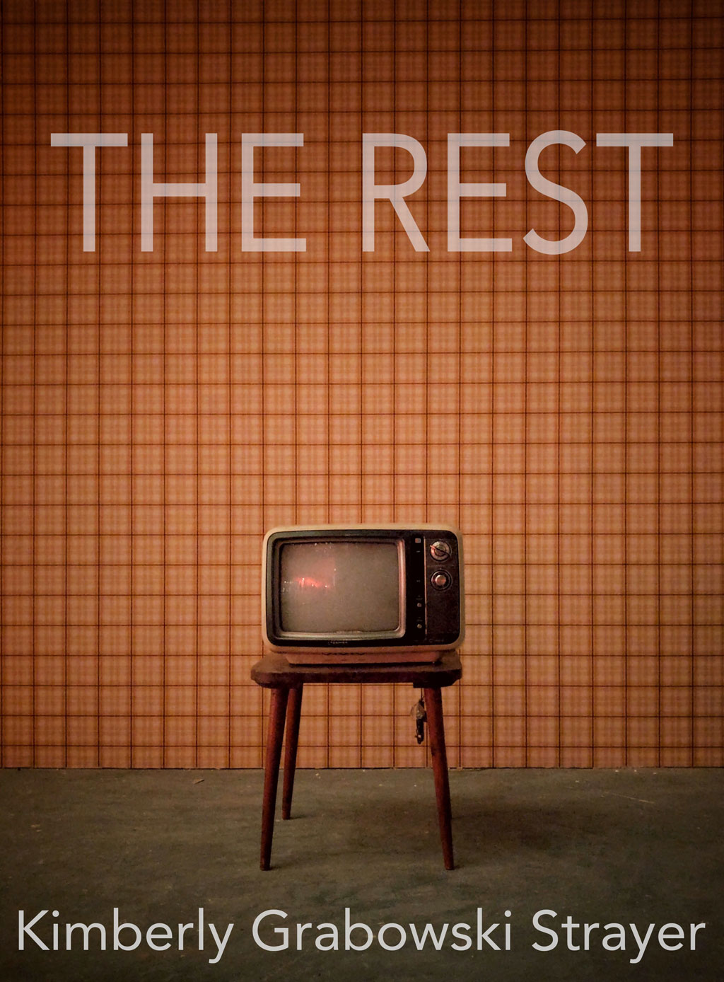 Vintage television on a small wooden table in front of a brown plaid wall, with the title of the piece in faded grey font