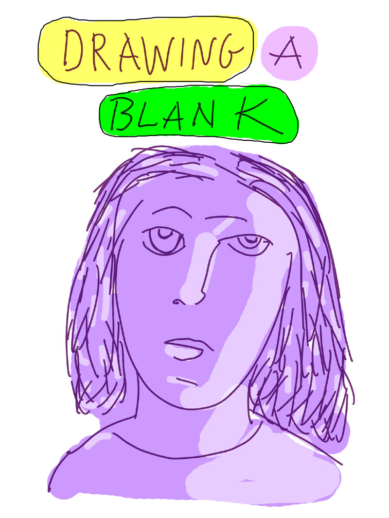 """Drawing a Blank,"" sketch of purple woman looking directly ahead"