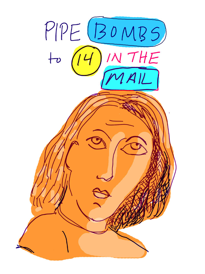 """Pipe bombs to 14 in the mail,"" sketch of orange woman looking to the side"