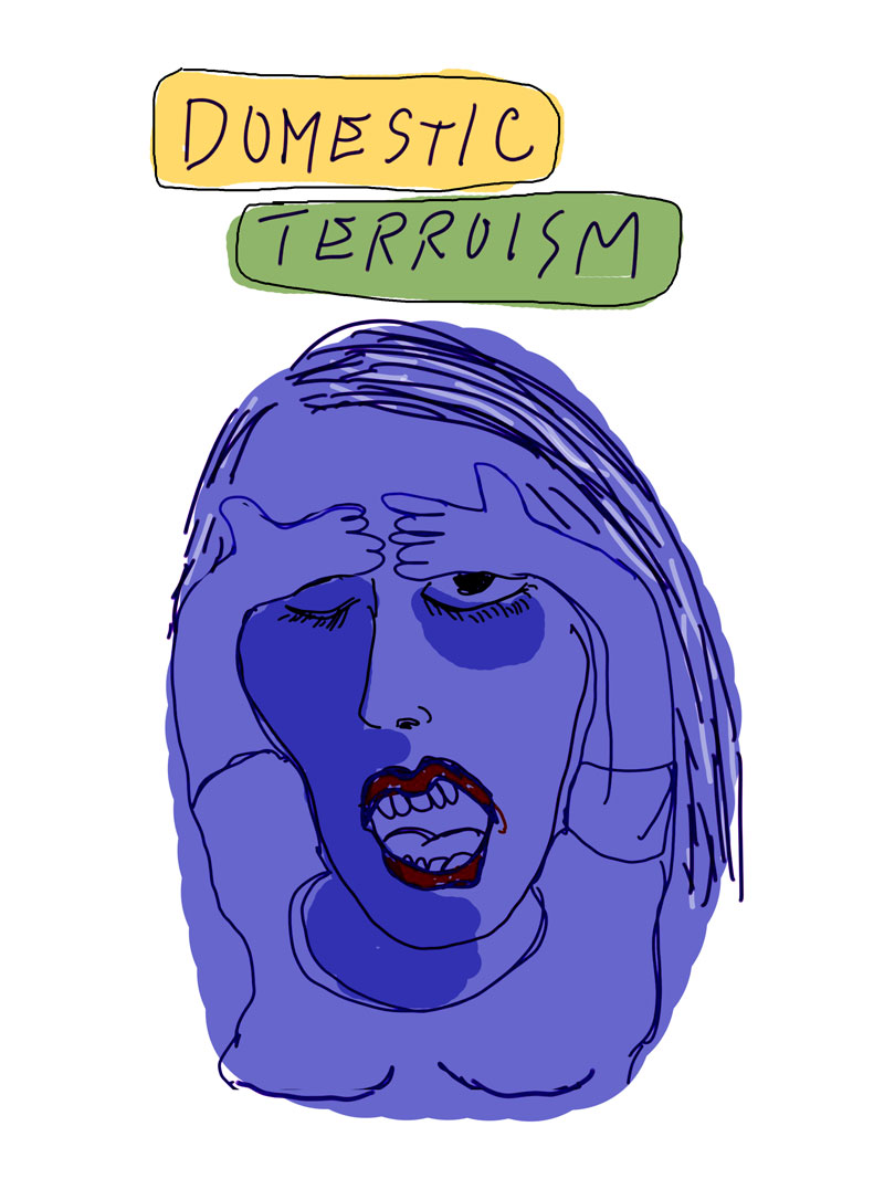 """Domestic Terrorism,"" sketch of purple woman wearing red lipstick holding her hands on her forehead with one eye open, gasping"