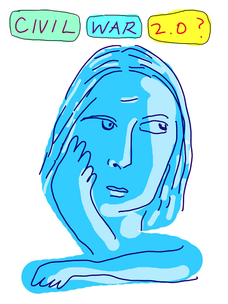 """Civil War 2.0?"" sketch of blue woman with one hand on her face looking to the side"