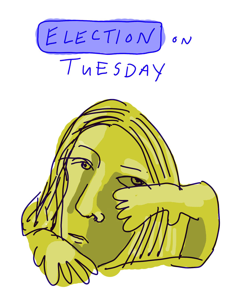"""Election on Tuesday"" sketch of gold woman shielding her face with one hand"