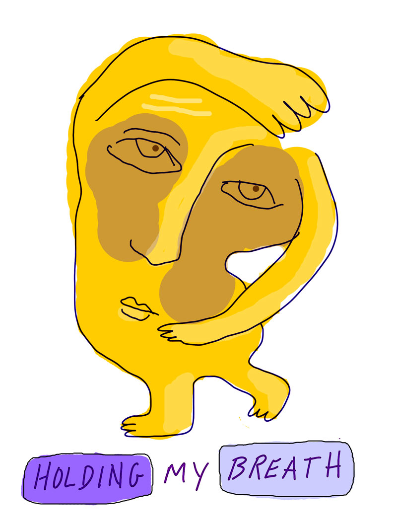 """Holding my breath"" sketch of abstract yellow figure with legs looking to the side with one arm on top of their head and one across their stomach"