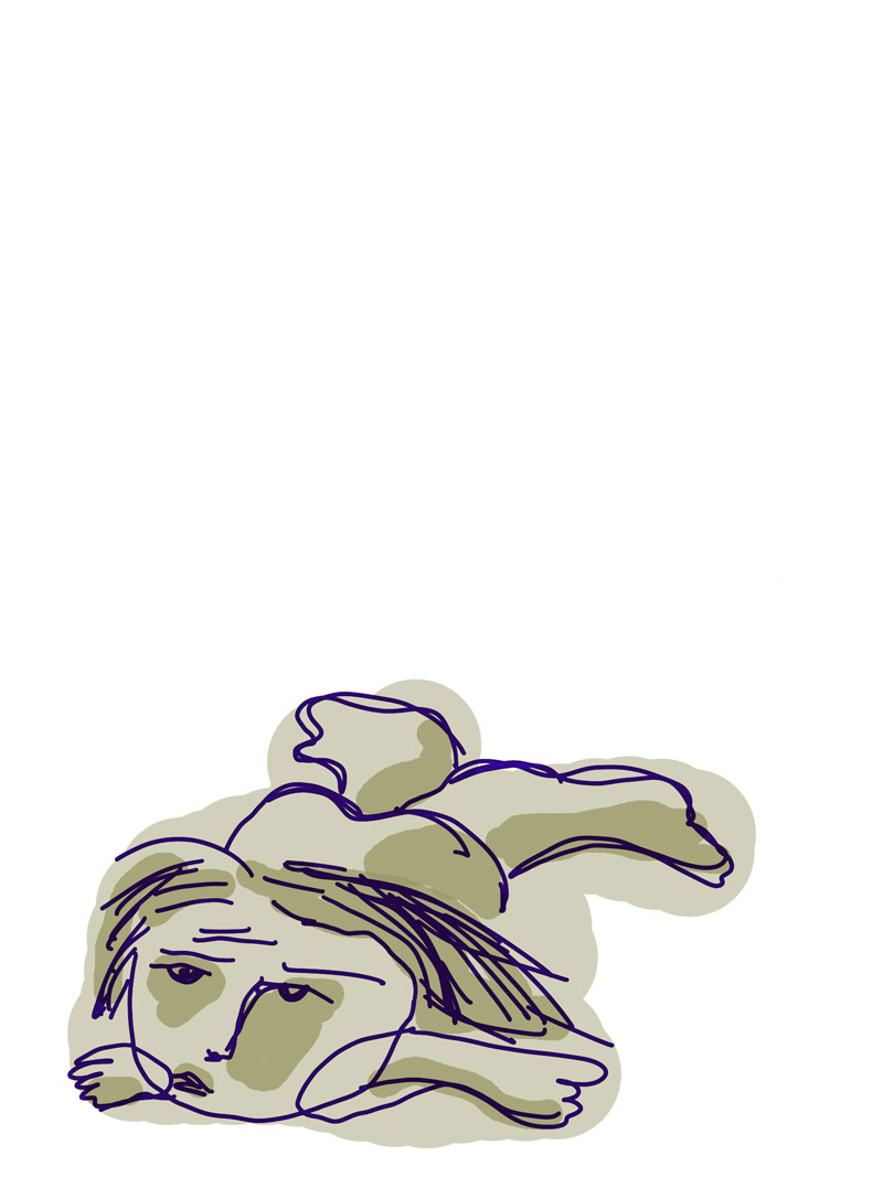Sketch of slumped person on the floor, with green and cream-colored splotched skin and short straight hair