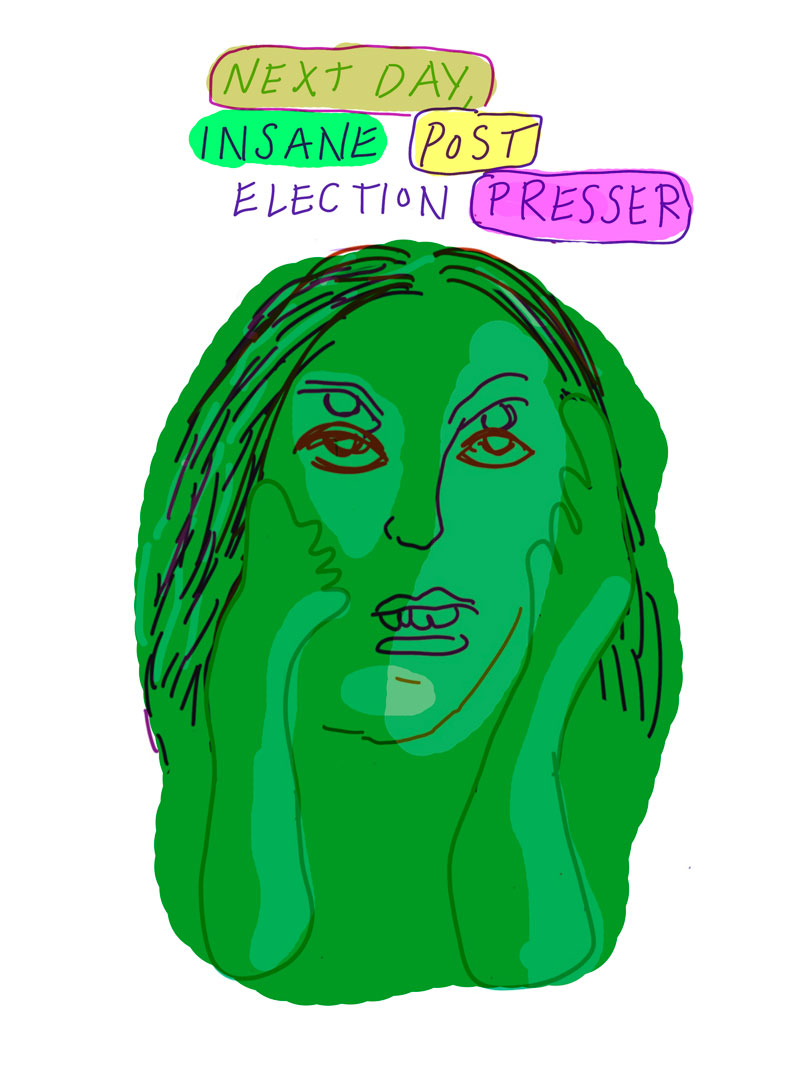 """Next day, insane post election presser"" sketch of green woman with two pair of eyes holding her face"