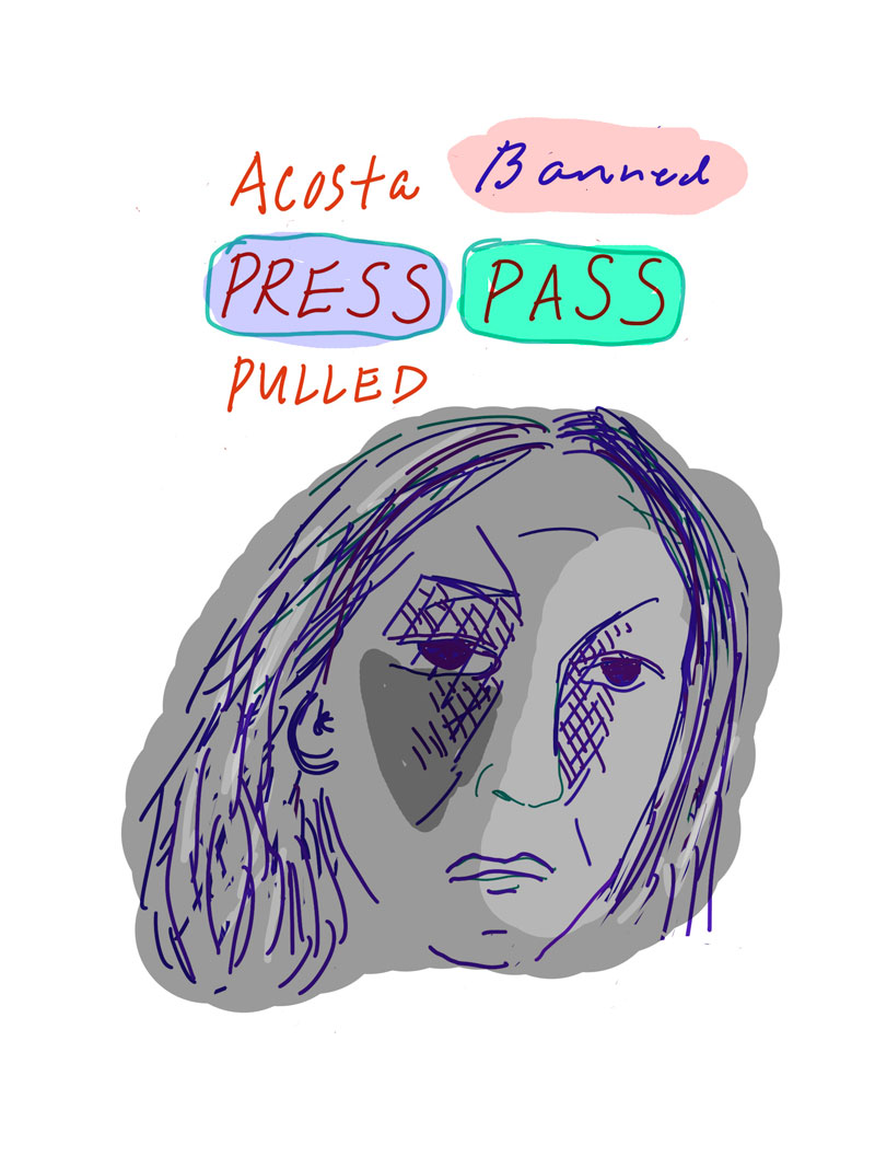 """Acosta Banned Press Pass Pulled"" sketch of grey woman with her features highlighted in purple looking despondently ahead"