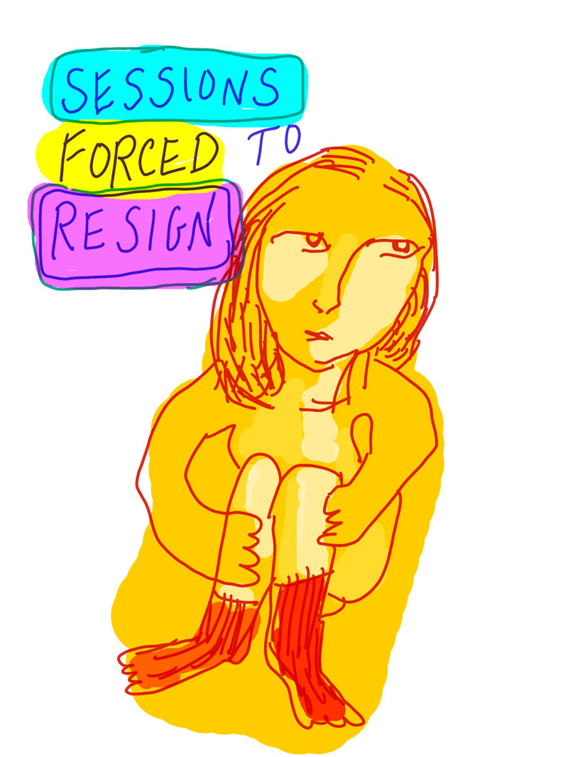 """Sessions forced to resign"" sketch of yellow woman with red outlining sitting on the ground holding her knees to her chest"