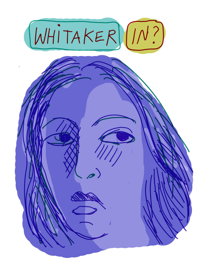 """Whitaker In?"" sketch of blue woman looking to the side"