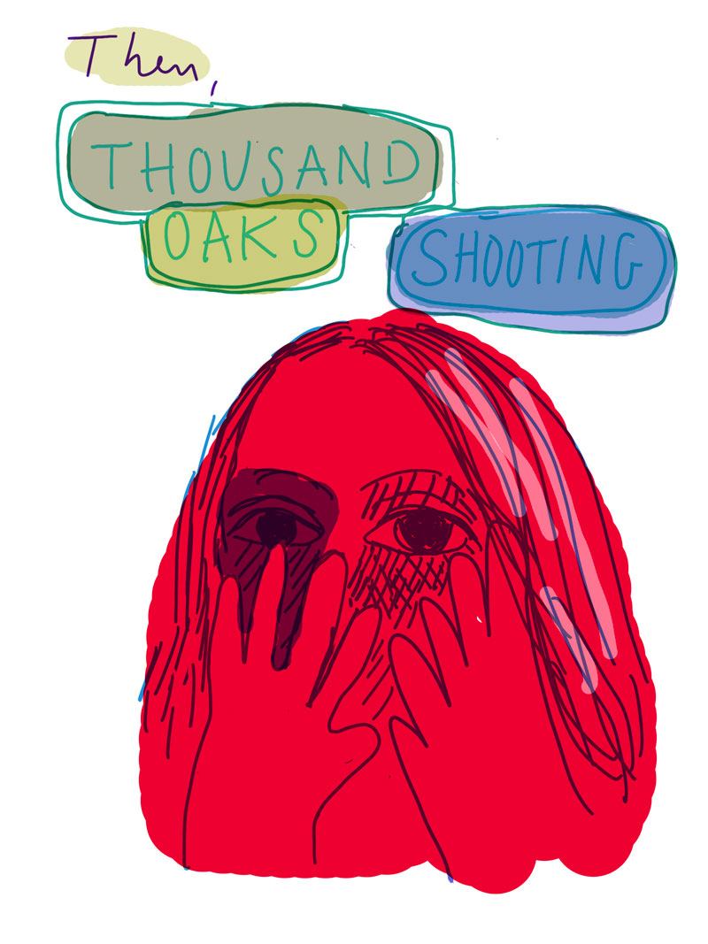 """Then, Thousand Oaks shooting"" sketch or red woman covering the lower half of her face with her hands"
