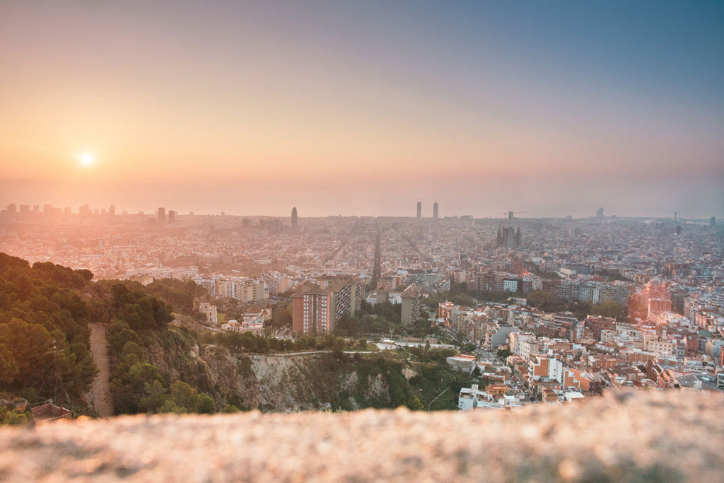 Barcelona cityscape during sunset