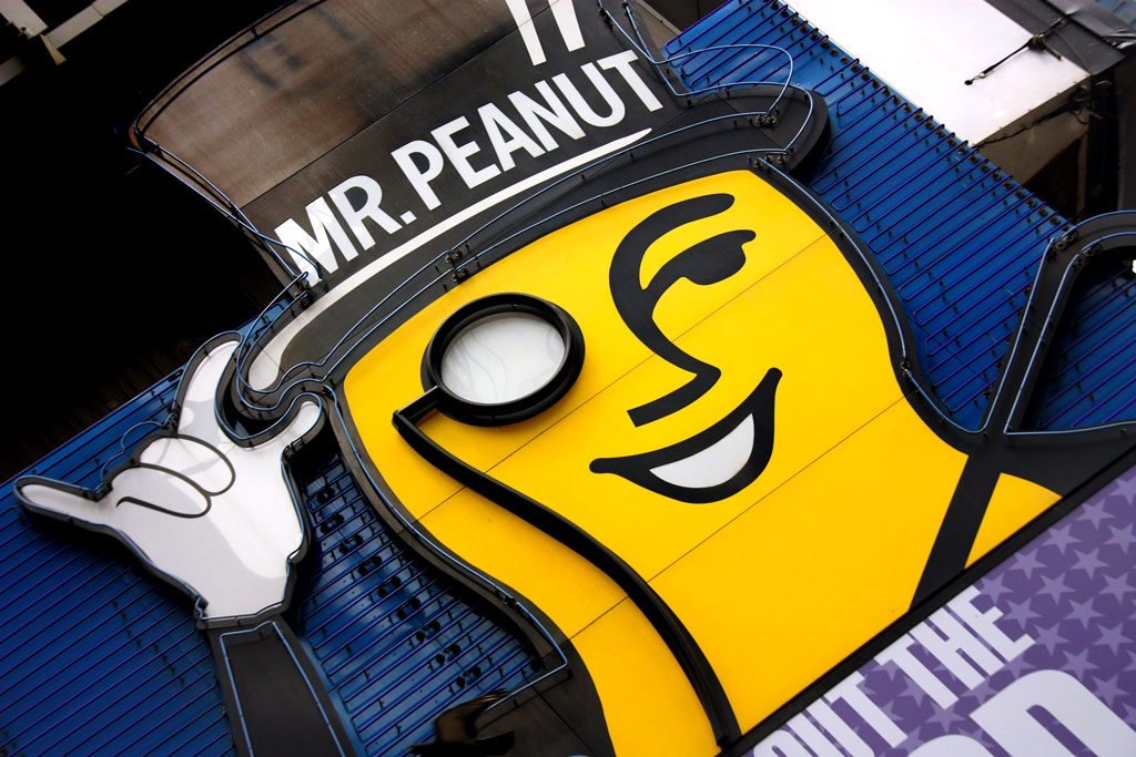 Neon sign of Mr. Peanut