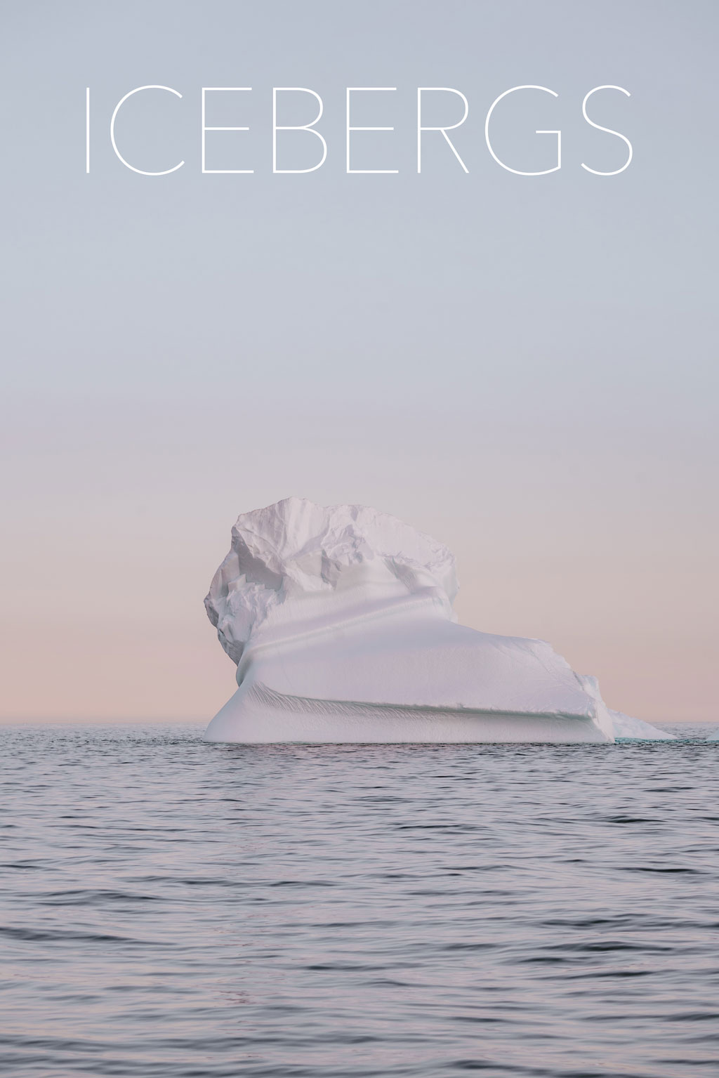 Iceberg in the ocean against a pastel sky, with the title of the piece in the upper third of the image