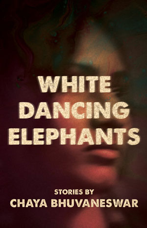 White Dancing Elephants cover art. A dark close-up of a woman's face behind white text