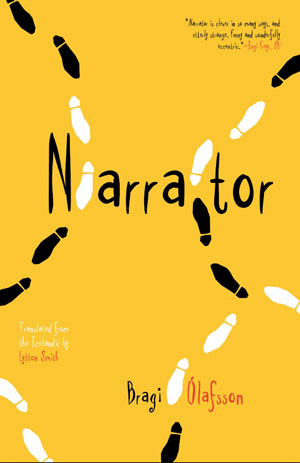 Narrator book jacket; black and white footsteps on a yellow background