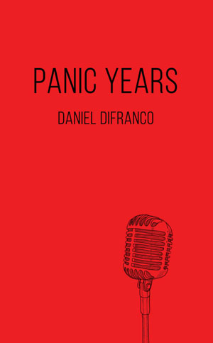 Panic Years book jacket. A sketch of an old-style microphone against a red background