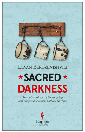 Sacred Darkness book jacket; three rusty mugs hanging from nails on a blue wall