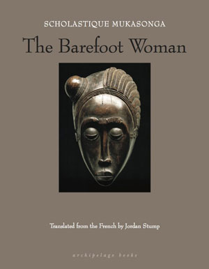The Barefoot Woman book jacket. A bronze mask of a human face