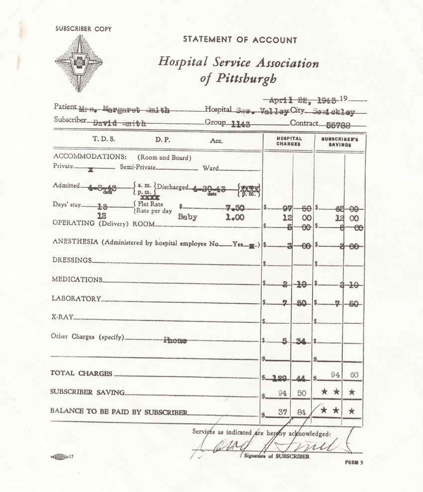 Old hospital statement of account from the Hospital Service Association of Pittsburgh