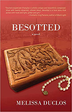 Besotted book jacket, featuring an engraved wooden block