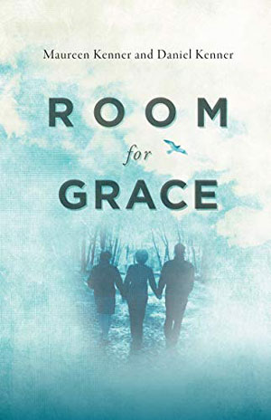 Room for Grace book jacket; three silhouettes walking into a blue forest
