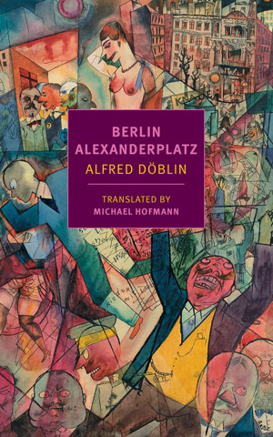 BERLIN-ALEXANDERPLATZ jacket cover. Abstract colorful human shapes, some in front of buildings