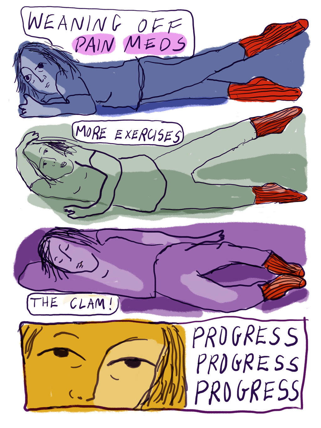 Panel 21: Weaning off pain meds. More exercises. The clam! Progress, progress, progress.