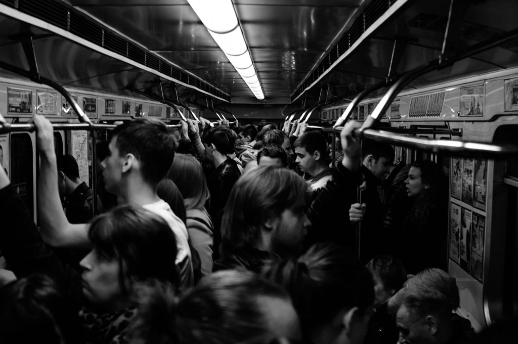People inside a subway train