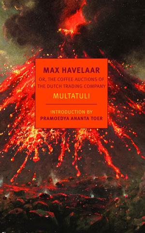 Cover art for Max Havelaar. A volcano erupts at night