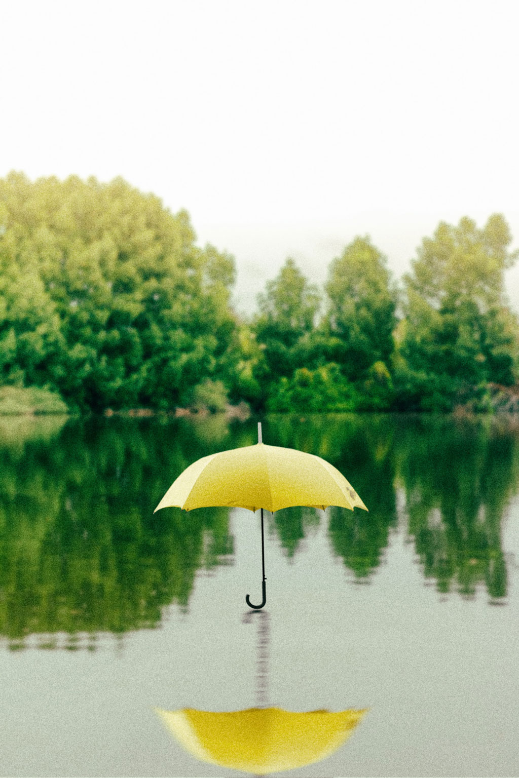 yellow umbrella hovering over a lake