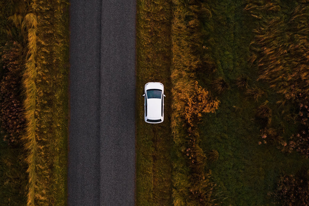 white car, aerial view