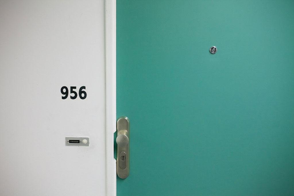 green door, doorbell