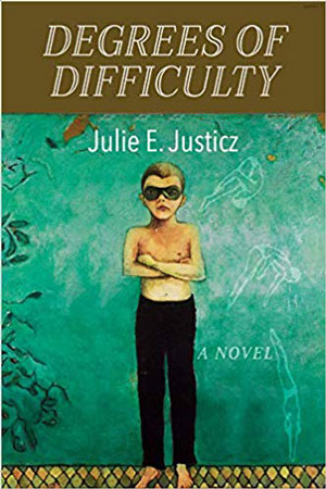 Degrees of Difficulty jacket cover. A young shirtless boy in swim goggles stands in front of a turquoise wall