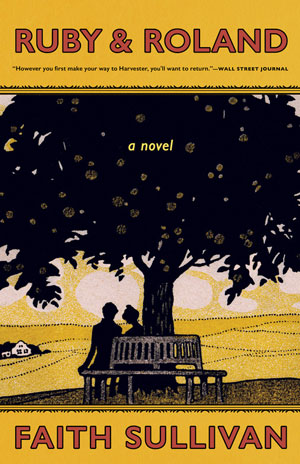 Ruby and Roland Book Jacket. Two shadowed figures sit under a large tree in front of rolling golden hills