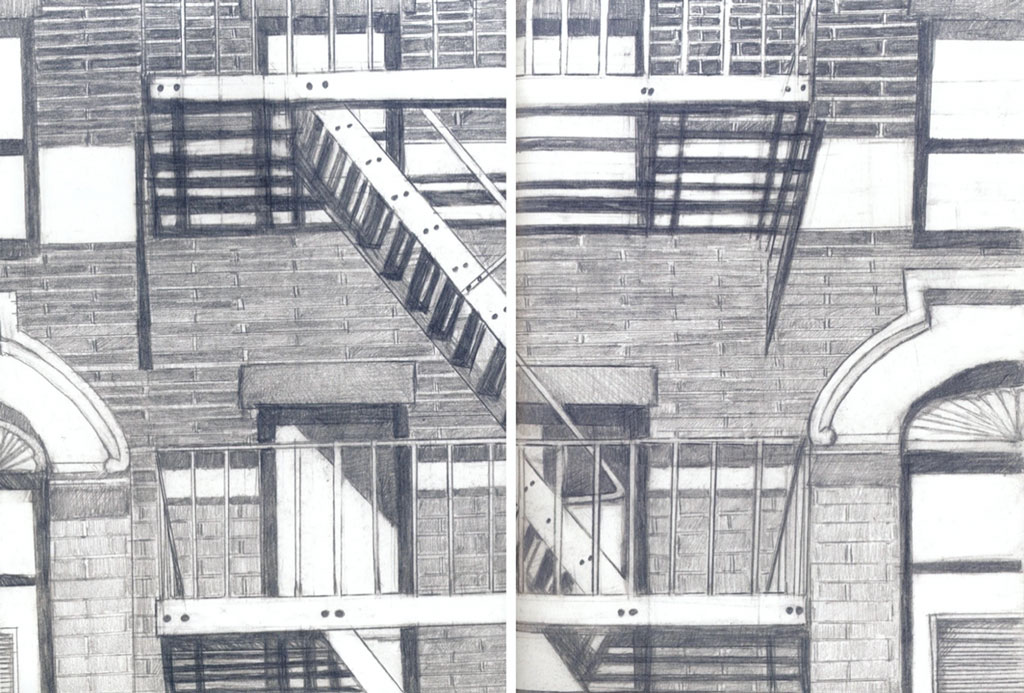 line drawing of fire escapes