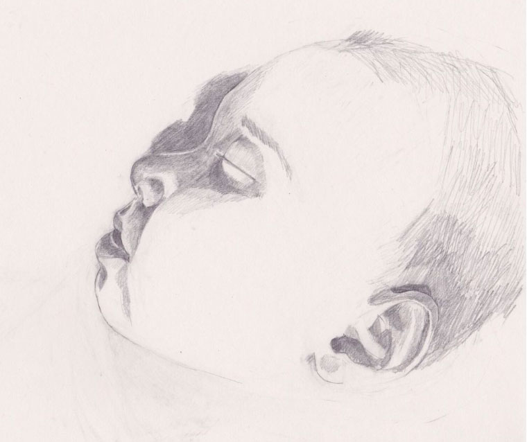 line drawing of a baby's head