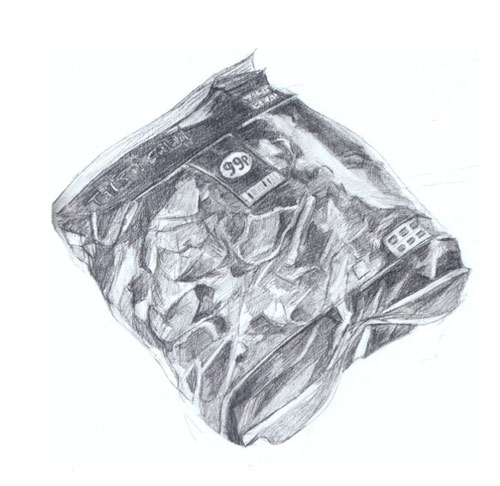 line drawing of a bag of salad