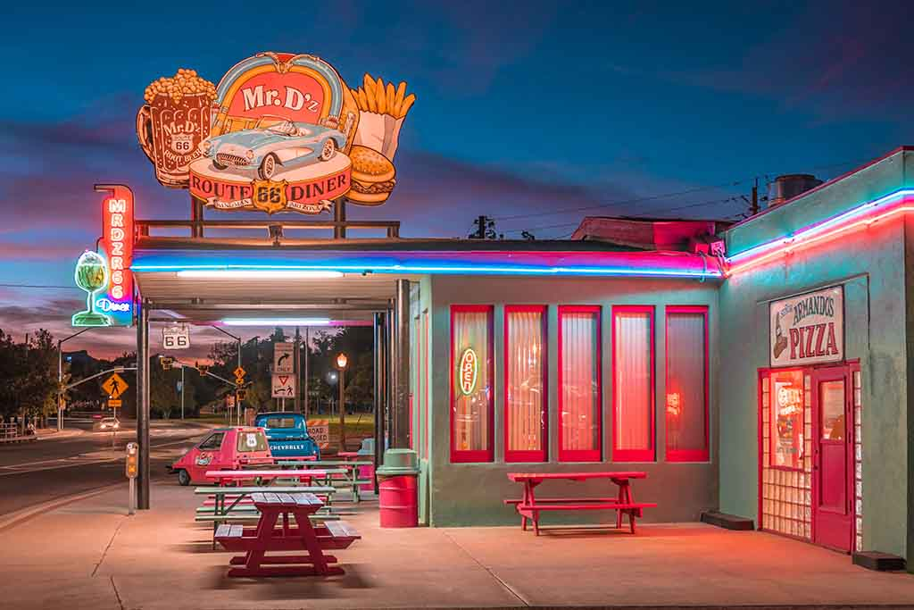 Retro diner at sunset with neon lights