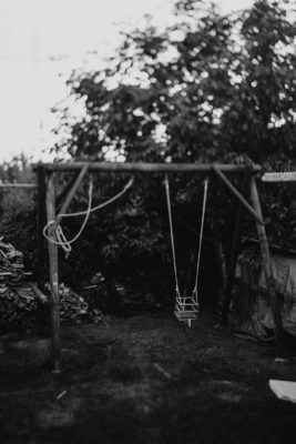 swingset - black and white moody shot