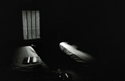 black and white image of hospital beds