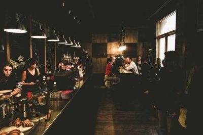 restaurant scene nighttime