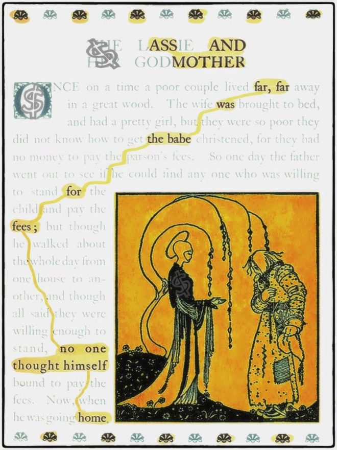 Found poetry on the page of an ancient book, which reads: ASS AND MOTHER. far, far was the babe for fees; no one thought himself home. Next to the text, an angelic figure speaking to a cloaked figure.