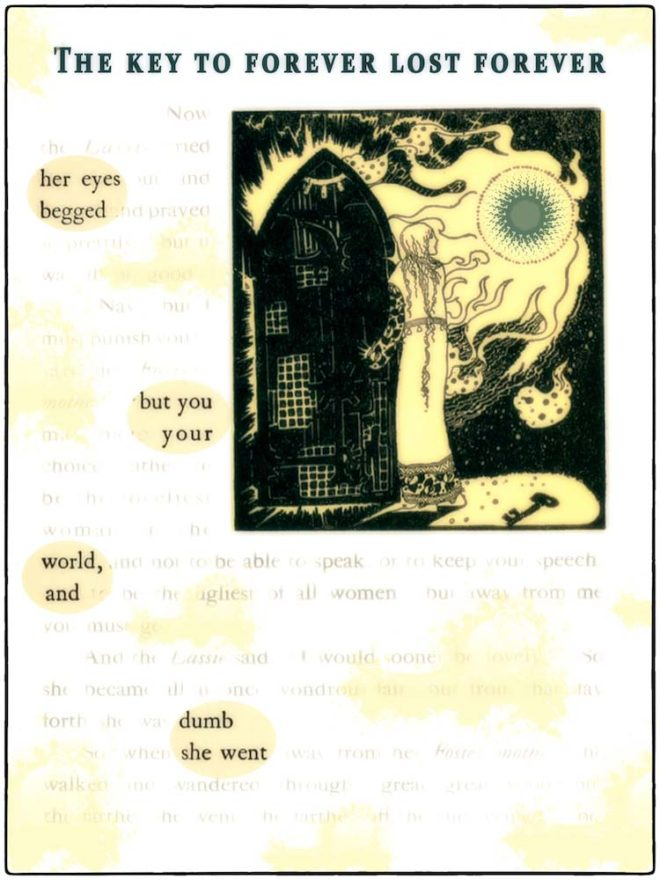 Found poetry on a stained book page. Title: THE KEY TO FOREVER LOST FOREVER. Text: her eyes begged but you your world, and dumb she went. Image of feminine figure looking into sun next to tall object with closed eye on it.