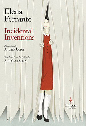 Incidental Inventions book jacket. A woman in a red dress peaks out for behind a white curtain