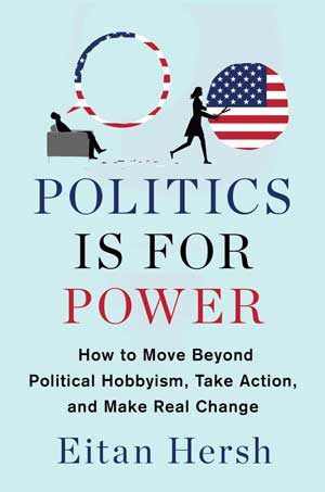 "Book jacket for ""Politics is for Power."" Male and female figures with speech bubbles outlined in the American flag. Motif in colors are red, white, blue, black."