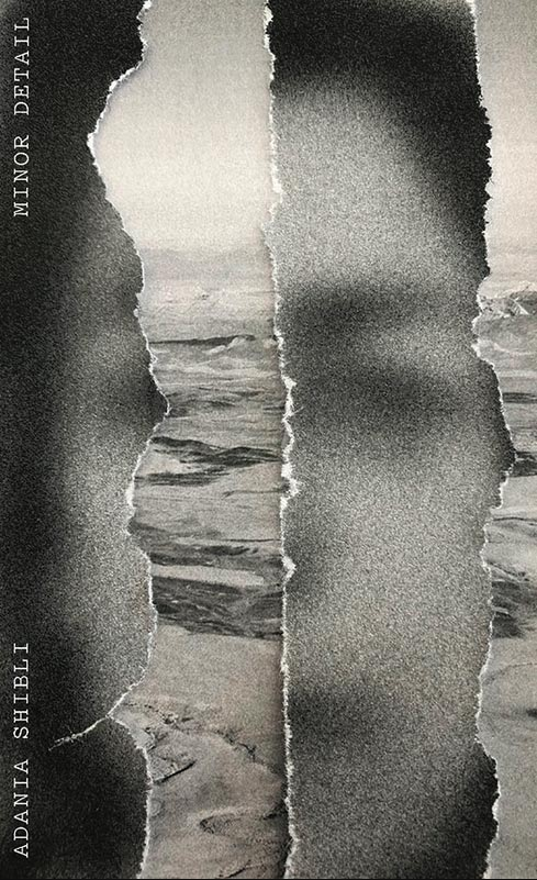 Book cover for Minor Detail: Adania Shibli. Torn photograph of face over photograph of the desert.
