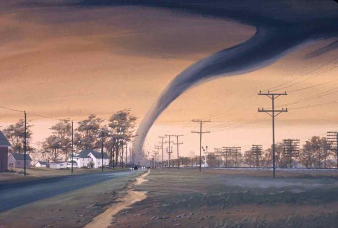 Rural neighborhood at sunset with grey tornado on horizon