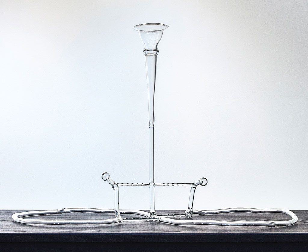 A glass trumpet for two players
