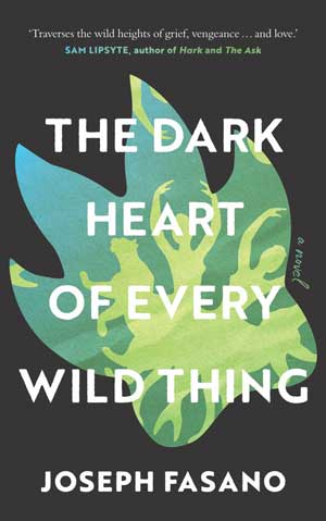 The Dark Heart of Every Wild Thing cover art. A blue-green shape against a black background with white text