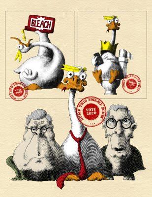 """""""Dump Trump"""" four illustrations in 19c cartoonist style"""