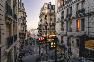 a street scene in Paris